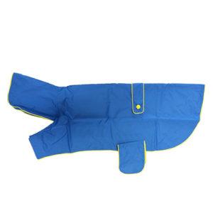 impermeabile blu cane